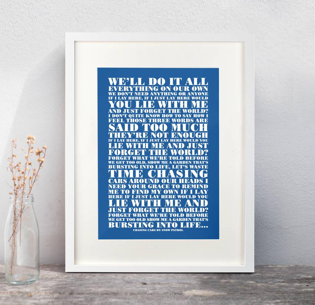 personalised favourite lyrics poster