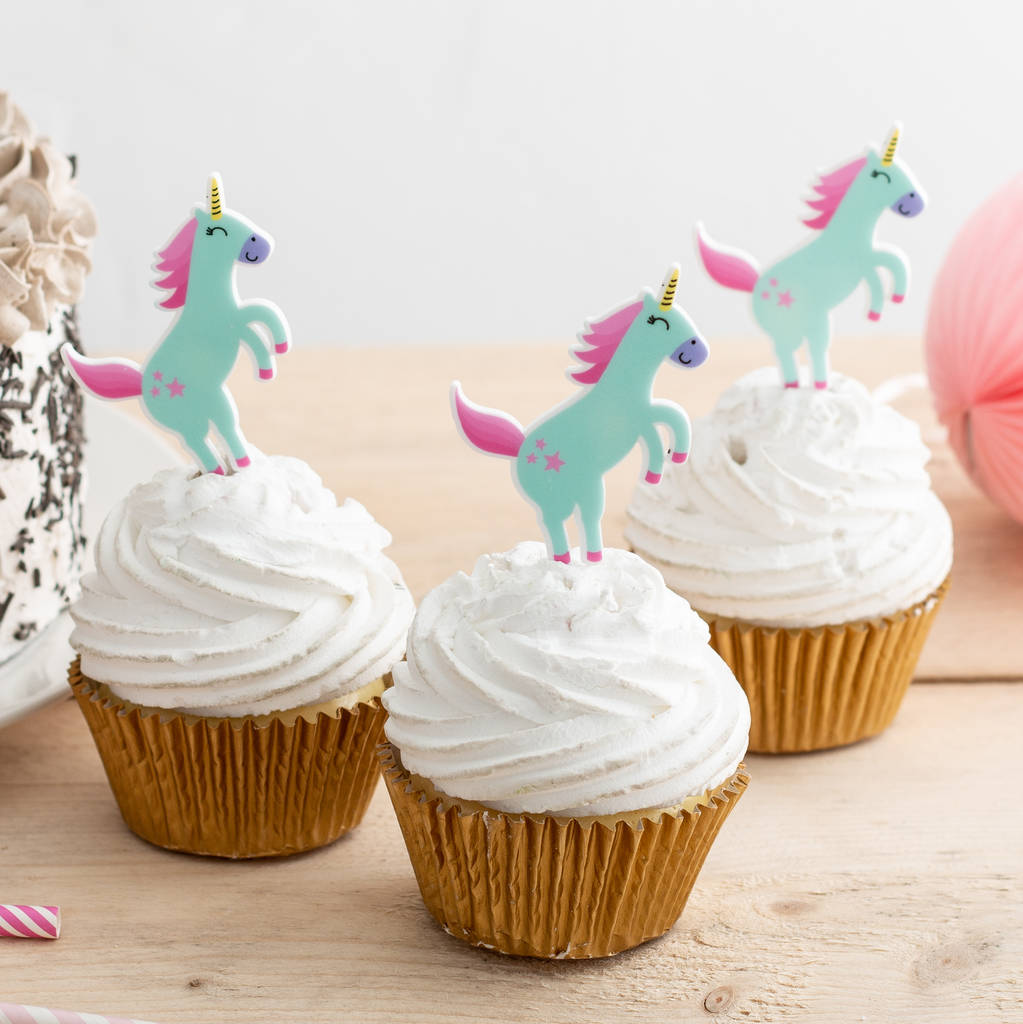 Jumping Unicorn Cupcake Toppers Set Of Six By Funky Laser