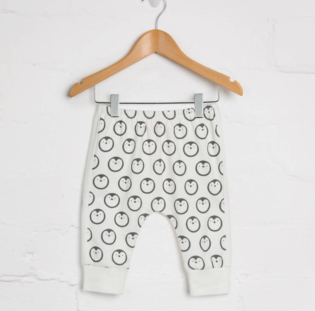 white penguin harem joggers by lucy & sam