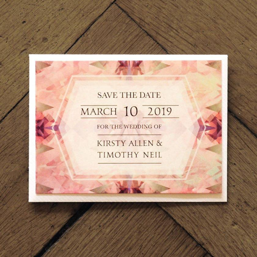 Diamond Wedding Invitation Set On Shimmer Card