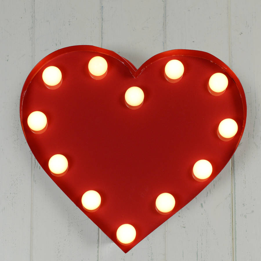 red metal carnival heart light by home  glory