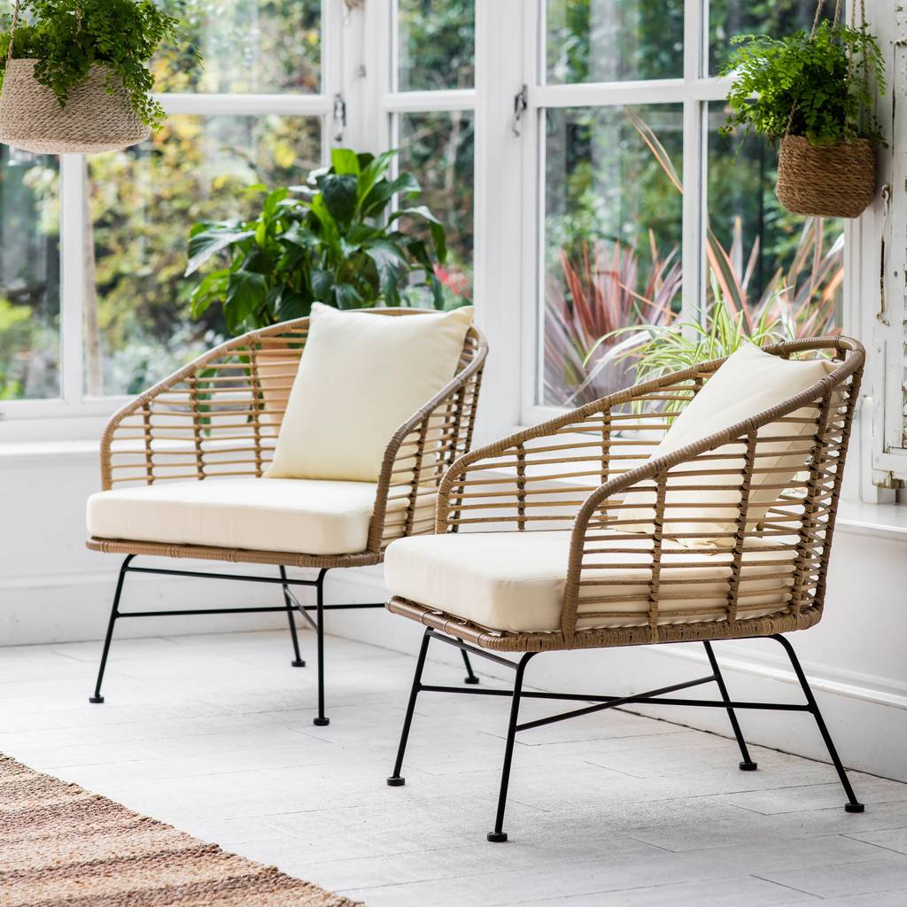 Bamboo Chairs Set Of Two Bamboo Garden Chair