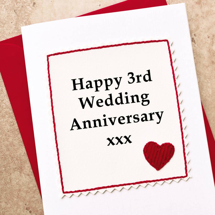 handmade 3rd wedding anniversary card by jenny arnott cards  gifts  notonthehighstreetcom