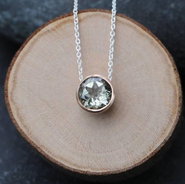 Green Amethyst And Rose Gold Pendant Necklace William White