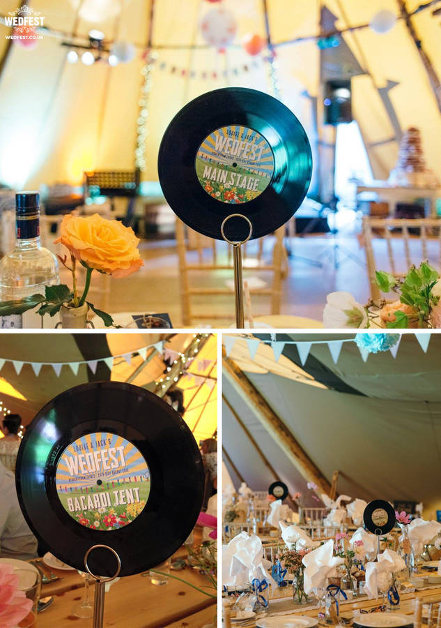 vinyl record wedding table numbers  names by wedfest  notonthehighstreetcom