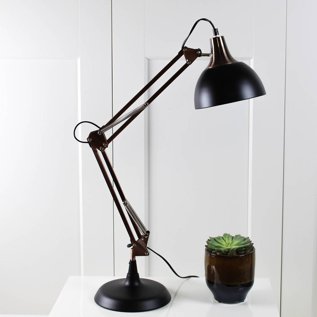 copper and black angled desk lamp by marquis  dawe