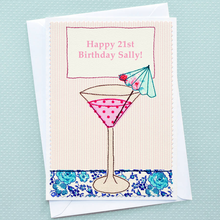 'cocktail' Personalised Girls Birthday Card By Jenny