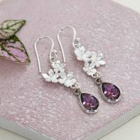 sterling silver amethyst and flowers earrings by martha ...
