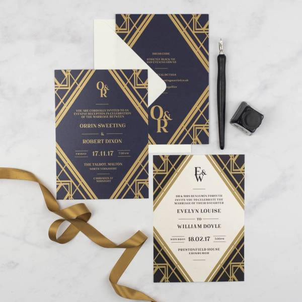Art Deco Gatsby Wedding Invitation Jack And Jess