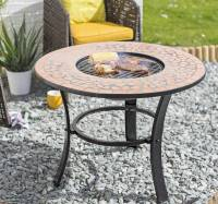 mosaic tiled firepit with grill and table insert by garden