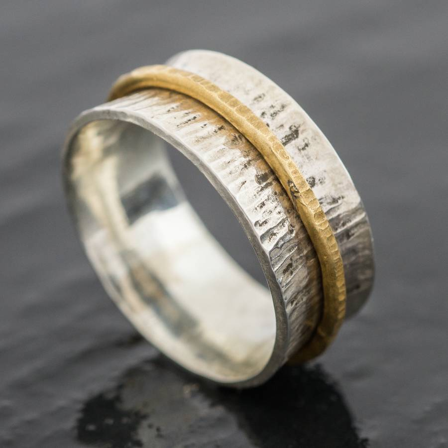 british eco silver and eco gold spinner ring by jacqueline
