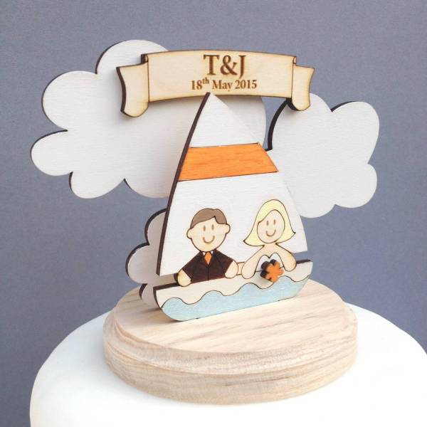 Personalised Sailing Boat Wedding Cake Topper