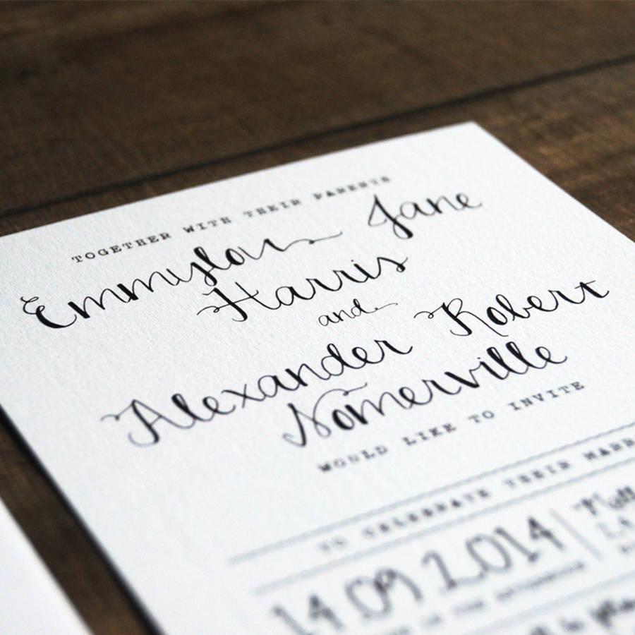 calligraphy wedding invitation stationery by feel good