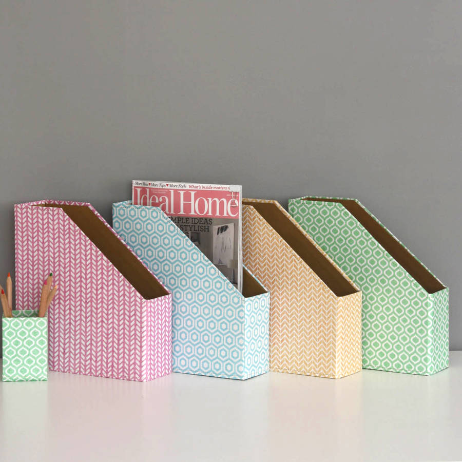 Recycled Pastel Geometric Print Magazine File By Heart