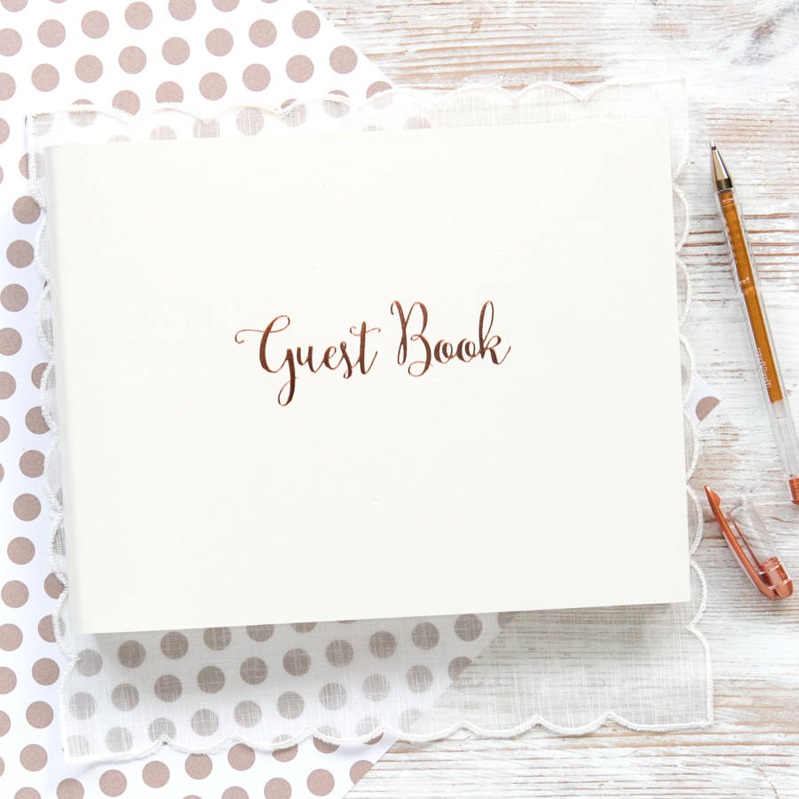 rose gold wedding guest book by begolden