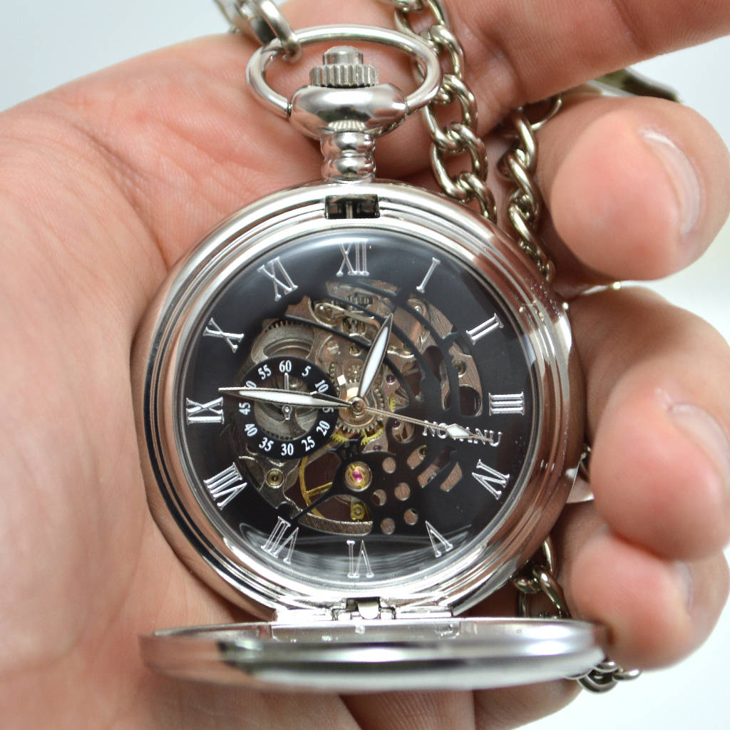 Engraved Pocket Watch With Roman Numerals By Tsonline4u