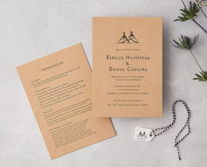 Tipi Letterpress Wedding Invitation