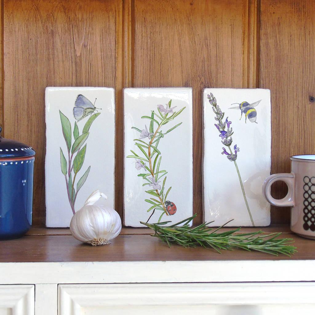 kitchen garden herbs ceramic tile wall art