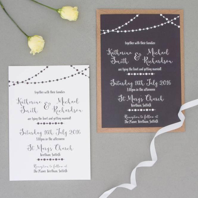 Fairy Light Wedding Invitation And Rsvp