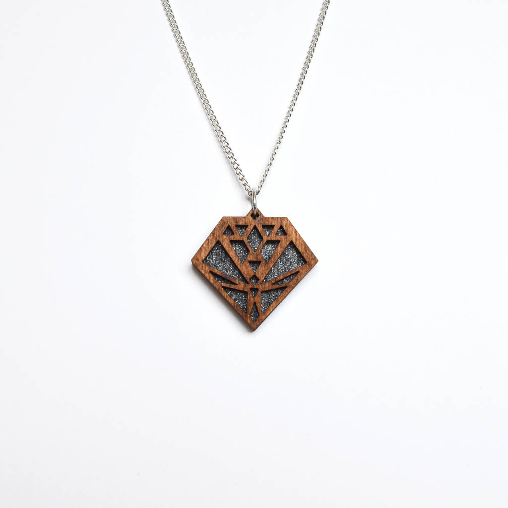 contemporary geometric diamond pendant necklace d7 by lady