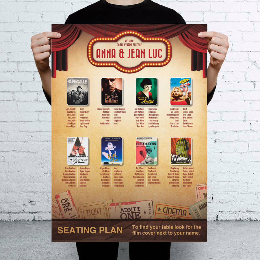movie themed wedding seating table plan by magik moments