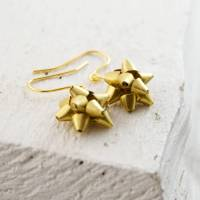 gold gift bow earrings by penny masquerade ...