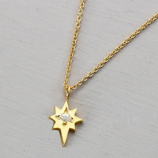 Gold North Star Necklace With White Sapphire Yvonne