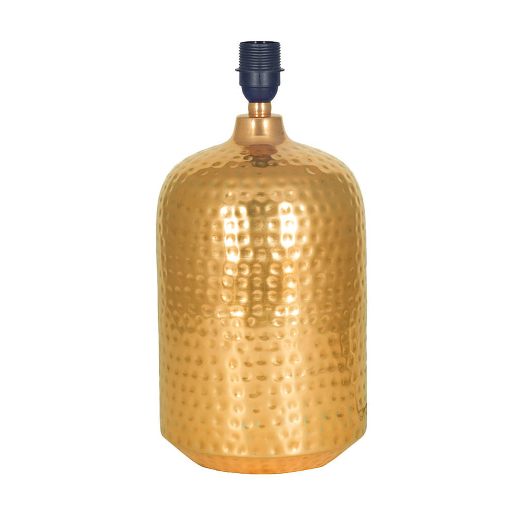 copper or gold hammered pot table lamp base by quirk