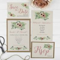 'rustic flowers' wedding stationery set by talk of the ...