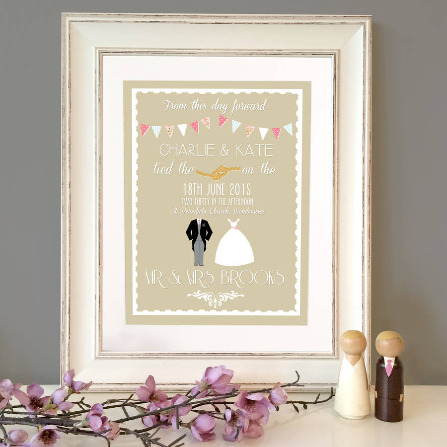 Personalised Classic Wedding Print By The Little Paper