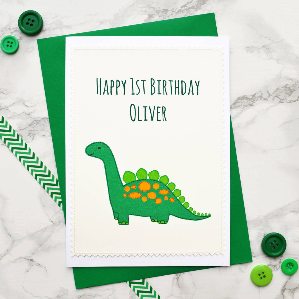 'dinosaur' Handmade Boys 1st Birthday Card By Jenny Arnott