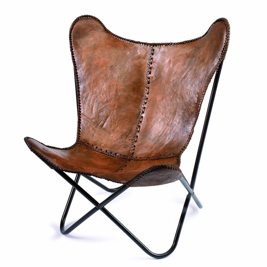 leather butterfly chair by bell  blue