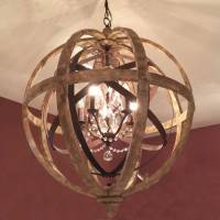 wooden orb chandelier metal orb detail and crystal by ...