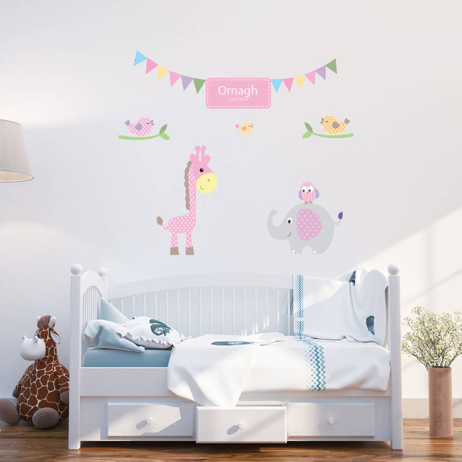 personalised baby girl wall stickers by parkins interiors