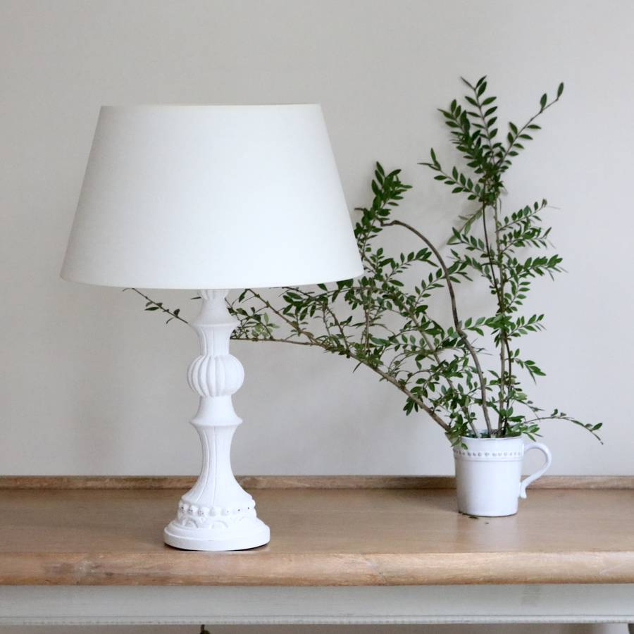 French White Wooden Table Lamp By Victoria Jill