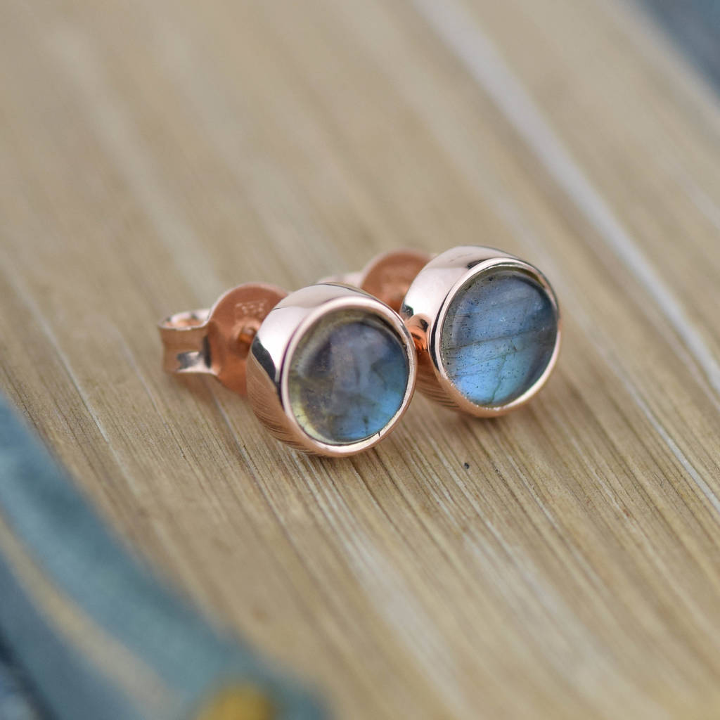 solid gold labradorite stud earrings by alison moore