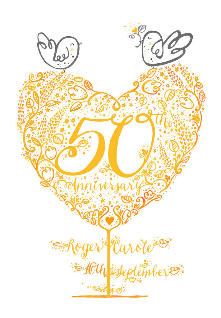 50th golden wedding anniversary gift print by wetpaint