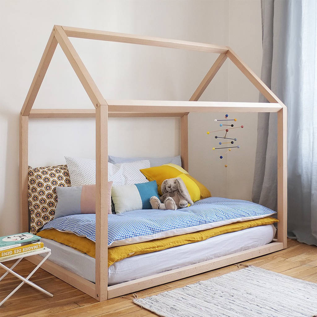 wooden house kids bed by grattify  notonthehighstreetcom