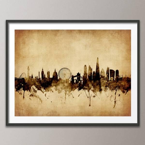 London Skyline Cityscape Vintage Art Print Artpause