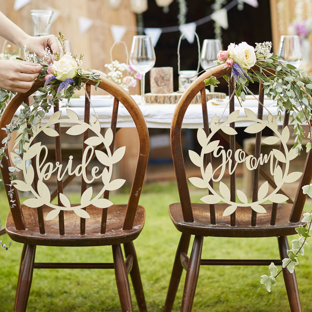 wedding bride and groom chairs best beach wooden chair day signs by ginger ray