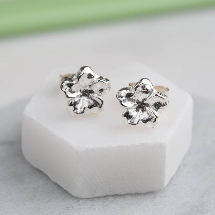 sterling silver dainty flower earring studs by jenny grace