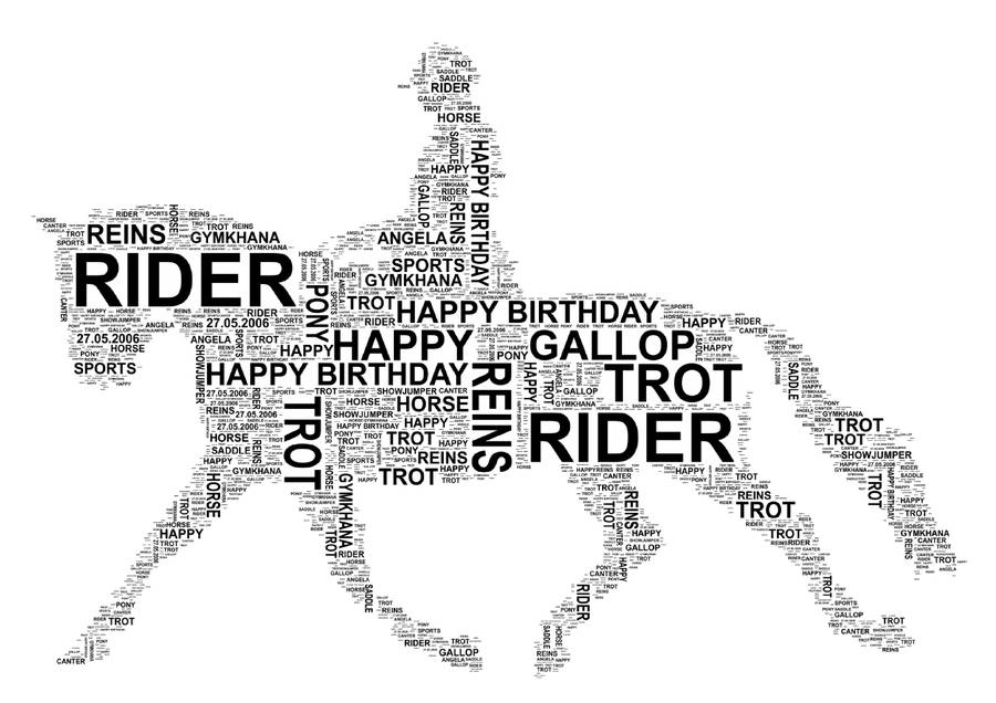personalised horse and rider word art print by unique word