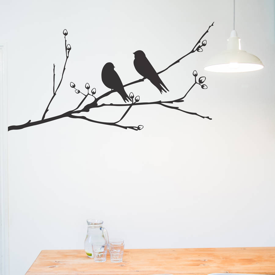 Love Birds On Branch Wall Decal Marvelous Wall Sticker Birds Home