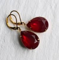 ruby red teardrop earrings by silk purse, sow's ear ...
