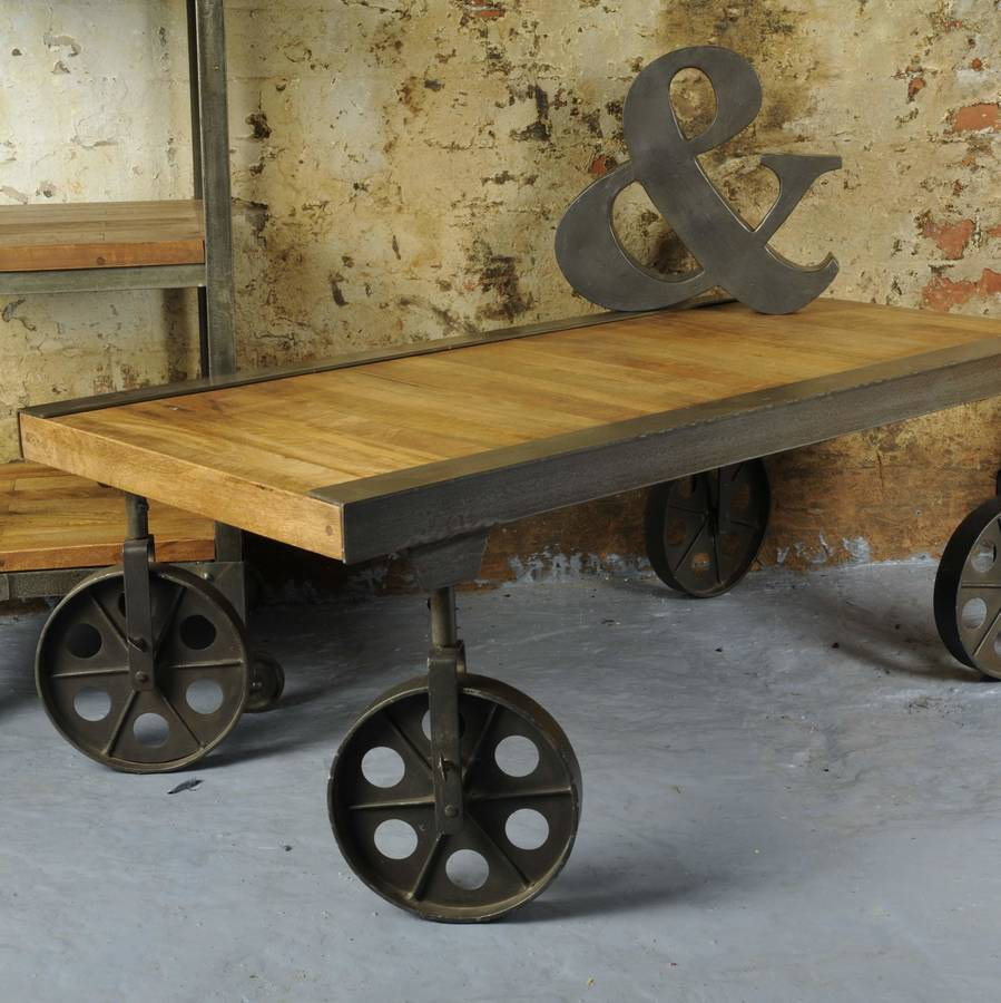 industrial vintage coffee table with wheels by the orchard