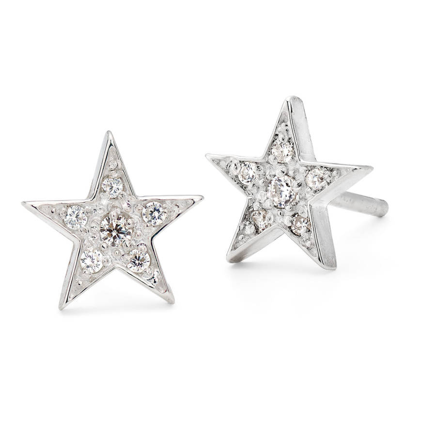 star stud earrings in silver and gold by harry rocks