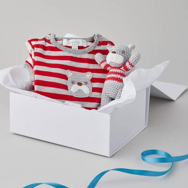 crochet bulldog baby gift set by albetta | notonthehighstreet