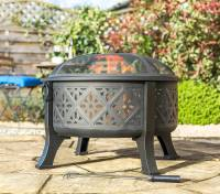 moroccan pattern deep bowl firepit with grill by garden ...