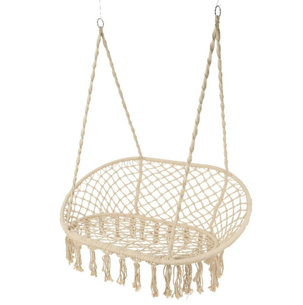 hanging chair notonthehighstreet small portable cream macrame double garden seat by ella james
