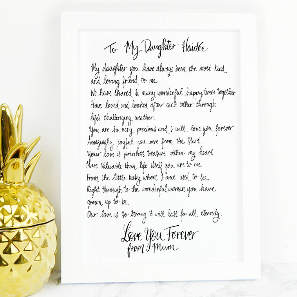 Daughter Poem T By De Fraine Design London
